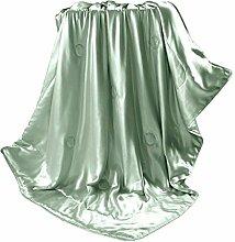 THXSILK Wolldecke mit 100% Maulbeereseide Innen und Außen, Größe 135x180 cm - Artischocken Grün