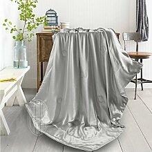 THXSILK Wolldecke Mit 100% Maulbeereseide innen und außen, Größe 135x180 cm - Silber grau