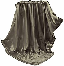 THXSILK Wolldecke mit 100% Maulbeereseide Innen und Außen, Größe 135x180 cm - Schokolade
