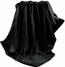 THXSILK Wolldecke mit 100% Maulbeereseide Innen und Außen, Größe 135x180 cm - Schwarz