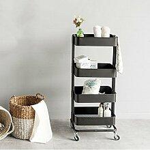 TIAMO Home Store Küche Dunkelgrau Wohnzimmer Regal Lagerung Pulley Multifunktions Trolley Seite Der Mahlzeit Lagerregal ( größe : 44.5*35*106cm )