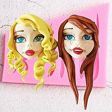 TIANDI Cartoon Mädchen Haar Silikonform Candy
