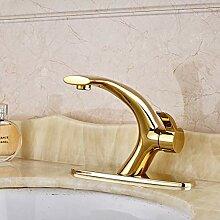 TIANDI Goldene Einhand-Waschbecken Wasserhahn Deck