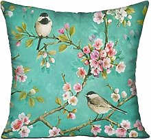 TIANHOME Cushion Cover Pillow Cover Birds Flowers