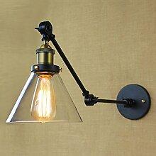 TIANLIANG04 Amerikanische Loft Industrielle Wandleuchten Vintage Bett Wandleuchte Glas Lampenschirm E 27 Edison Lampen 110V/220V