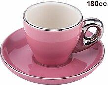 TIANLIANG04 Becher、Kaffeetassen Kaffee Tasse Kaffee Cappuccino Tasse Girlande Keramik Porzellan Schale, Big Pink