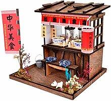 TianranRT 3D Aus Holz DIY Miniatur Haus Möbel LED