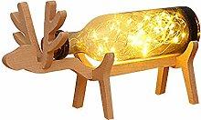 TianranRT Weihnachten Elch LED Glas Flasche Holz