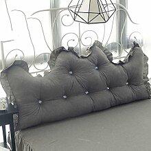 TIANT UK-Kissen Prinzessin Feng Shui Baumwolle waschen zurück Baumwollspitze Bett durch die Baumwolle zurück mit dem Kern ( Farbe : Grau , größe : 1.5m )