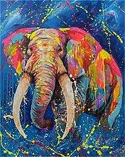 TIANZXS DIY Ölgemälde nach Zahlen Elefant Bild