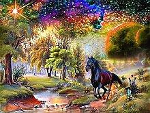 TIANZXS Ölgemälde nach Zahlen Pferd DIY Bild
