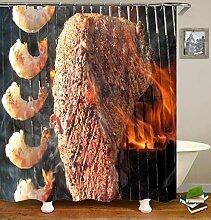 TIAQUN Grill-Duschvorhang, Barbecue-Grill,