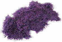 Tibet Lammfell Teppich Tierform (große Farbauswahl) JAY17 Farbe lila / blau