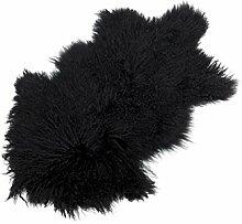 Tibet Lammfell Teppich Tierform (große Farbauswahl) JAY37 Farbe schwarz