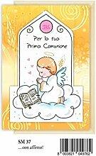 Ticket Grüße Erste Kommunion Babysitting angel gelb Marpimar Glanz irisierende