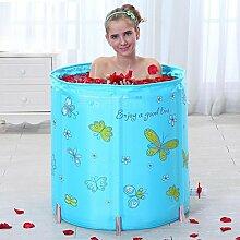 TIDLT Badewanne Liftable Folding Badewanne Verdicken Isolierung Erwachsene Kind Nylon Material Rosa Blau Vier Jahreszeiten (Farbe : Blau)