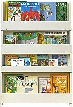 Tidy Books® - Das originale Kinder-Bücherregal in Cremeweiß - Buchcover werden präsentiert - Schmales Regal fürs Kinderzimmer - Ideale Kinderbücher Aufbewahrung - 115 x 77 x 7 cm