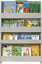 Tidy Books® - Das originale Kinder-Bücherregal in Hellgrau - Buchcover werden präsentiert - Schmales Regal fürs Kinderzimmer - Ideale Kinderbücher Aufbewahrung - 115 x 77 x 7 cm