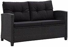 Tidyard 2-Sitzer Outdoor Sofa in Schwarz, passend