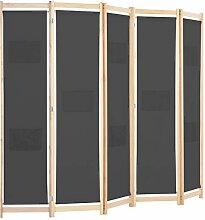 Tidyard 5-teiliger Raumteiler Grau 200 x 170 x 4
