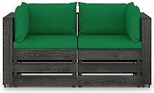 Tidyard Gartensofa 2-Sitzer mit Kissen