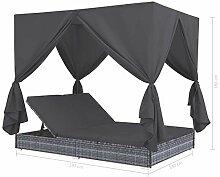 Tidyard Outdoor-Lounge-Bett mit Vorhängen