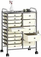 Tidyard Schubladenwagen mit 15 Schubladen Weiß
