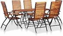 Tidyard Sitzgruppe Stühle 7-TLG. Gartenset Akazie