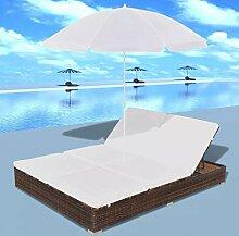 Tidyard Sonnenliege Gartenliege mit Sonnenschirm