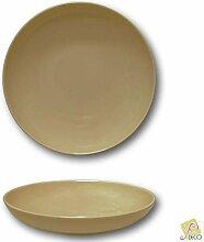 Tiefer Teller aus Porzellan, Braun – Durchmesser