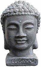 Tiefes Kunsthandwerk Buddha Kopf - Schiefergrau,