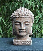 Tiefes Kunsthandwerk Buddha Kopf - Terrakotta,