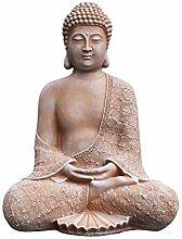 Tiefes Kunsthandwerk Stein-Figur Buddha sitzend in