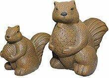 Tiefes Kunsthandwerk Steinfigur Eichhörnchen 2er