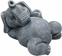 Tiefes Kunsthandwerk Steinfigur Elefant liegend