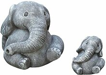 Tiefes Kunsthandwerk Steinfigur Elefanten 2er Set