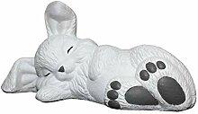 Tiefes Kunsthandwerk Steinfigur Hase schlafend -
