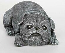 Tiefes Kunsthandwerk Steinfigur Hund Mops