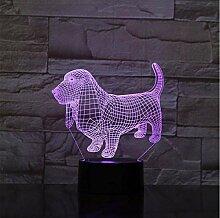 Tier Dackel Hund 3D Lampe Illusion Nachtlicht LED