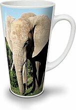 Tier Elefant Foto Weiß Keramisch Latte Becher 17 oz | Wellcoda
