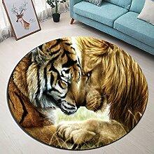 Tier Löwe Tiger_Rutschfest maschinenwaschbar runde Fläche Teppich Wohnzimmer Schlafzimmer Badezimmer Küche weich Teppich Bodenmatte Inneneinrichtungen 120x120 CM