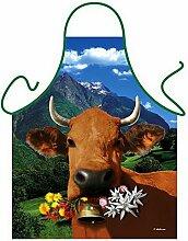 Tier-Motiv-Fun/Spaß-Grill/Kochschürze/ Thema Bauernhof: Italienische braune Kuh - inkl. Spaß-Urkunde