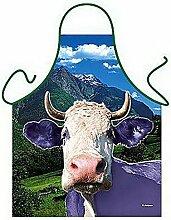 Tier-Motiv-Fun/Spaß-Grill/Kochschürze/ Thema Bauernhof: Lila Kuh - inkl. Spaß-Urkunde