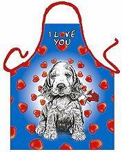 Tier-Motiv-Fun/Spaß-Grill/Kochschürze/ Thema Hunde: I Love You Hündchen - inkl. Spaß-Urkunde