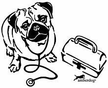 Tierarzt Auto Aufkleber Scheibe Wohnmobil Wohnwagen Hunde Mops mit Koffer ATT010 (30x20cm, weiß)