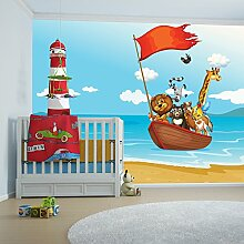 Tiere auf See Wandbild Löwe Foto-Tapete Kinderzimmer Kinderzimmer Wohnkultur Erhältlich in 8 Größen Riesig Digital