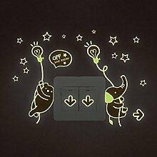 Tiere Elefant Sterne Nacht Beleuchtung Schalter Wand Aufkleber Home Aufkleber PVC Wandmalereien, Vinyl, Papier, House Dekoration Tapete Wohnzimmer Schlafzimmer Küche Kunst Bild DIY für Kinder Kinderzimmer Baby