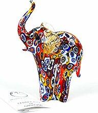 Tiere in Original Murano Glas Elefant mit Murrina