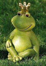 Tierfigur Froschkönig grün Terrakotta Dekofigur Gartendeko Höhe 35 cm