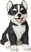 Tierfigur Welpe Husky Deko-Hund Polyresin Höhe 16